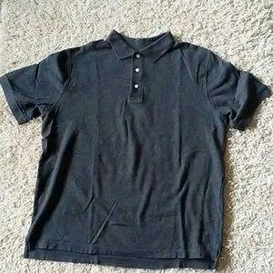 Heathered charcoal gray polo shirt